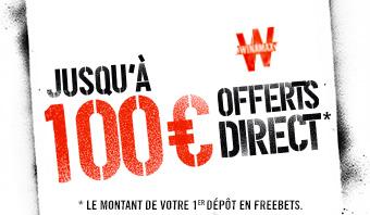 Jusqu'à 100 € offerts direct