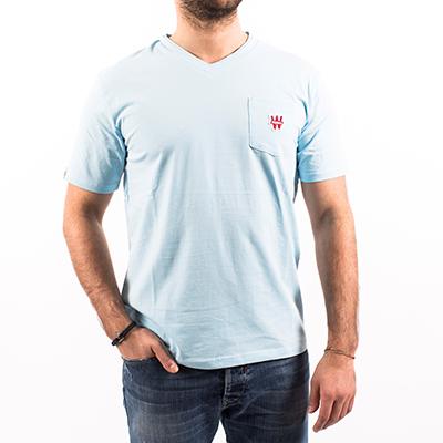 Tee shirt homme col V - bleu ciel