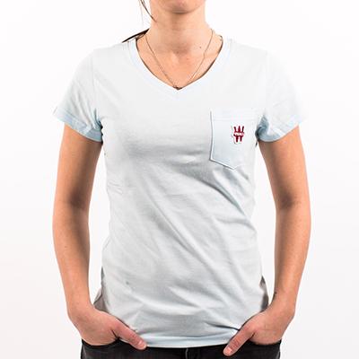Tee shirt femme col V - bleu ciel