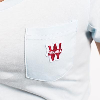 Tee Ciel Femme Col Winamax Shirt V Bleu L35j4ARq