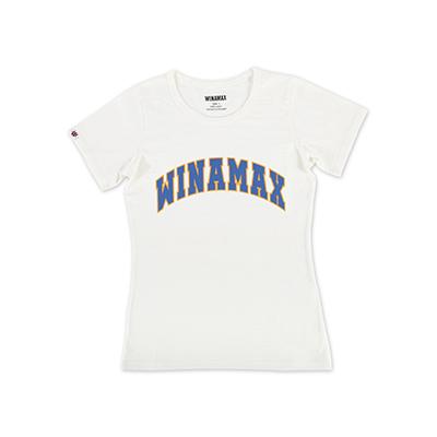 """T-Shirt Femme blanc logo """"Varsity"""" Orange/Bleu"""