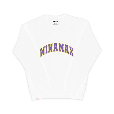"Sweatshirt Crewneck Homme blanc logo ""Varsity"" Jaune/Violet"