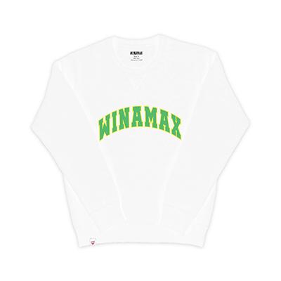 "Sweatshirt Crewneck Homme blanc logo ""Varsity"" Jaune/Vert"