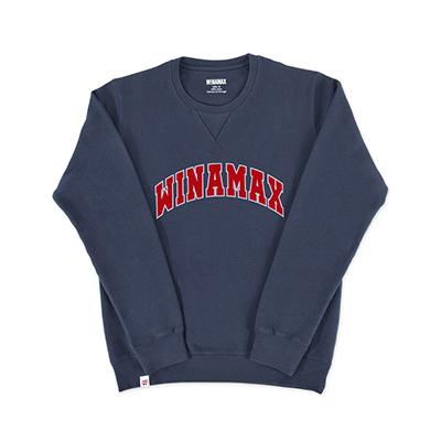 "Sweatshirt Crewneck Homme navy logo ""Varsity"" Blanc/Rouge"