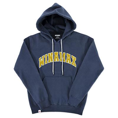 """Sweatshirt Hoodie Homme navy logo """"Varsity"""" Blanc/Or"""