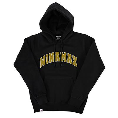 """Sweatshirt Hoodie Homme noir logo """"Varsity"""" Blanc/Or"""