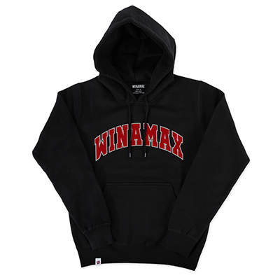 """Sweatshirt Hoodie Homme noir logo """"Varsity"""" Blanc/Rouge"""