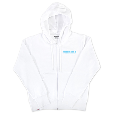 "Sweatshirt Zip Homme blanc logo ""Miramax"" Bleu Ciel"