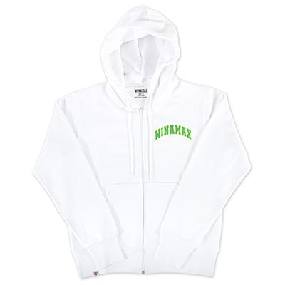 "Sweatshirt Zip Homme blanc logo ""Varsity"" Jaune/Vert"