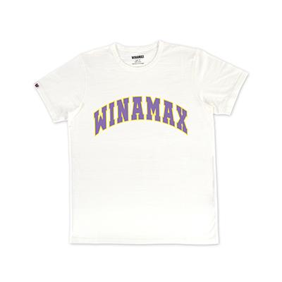 "T-Shirt Homme blanc logo ""Varsity"" Jaune/Violet"