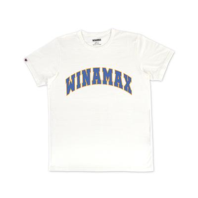 "T-Shirt Homme blanc logo ""Varsity"" Orange/Bleu"