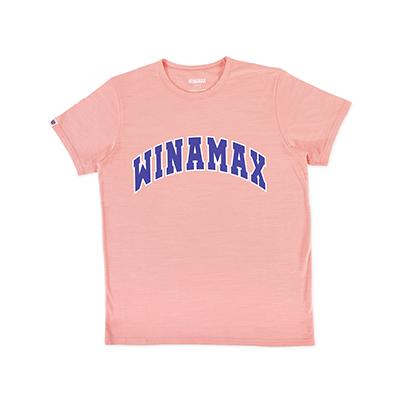 """T-Shirt Homme rose logo """"Varsity"""" Blanc/Bleu"""