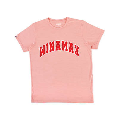 "T-Shirt Homme rose logo ""Varsity"" Blanc/Rouge"